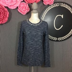 J. Crew Marled Jeweled Sweatshirt